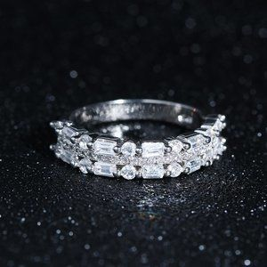 NEW 925 Sterling Silver Diamond Triple Band Ring